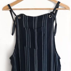 stripe overalls with adjustable straps